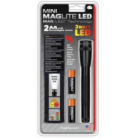 Maglite LED 2AA Zwart met holster blister