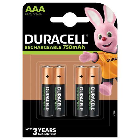 Duracell HR03 AAA 750mAh NiMh blister 4